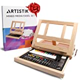 Mixed Media Art Set - Complete Easel Painting Kit with Wood Table Desk Top Easel Box Includes Acrylic Paints, 3 Canvas Boards, Pastels, Desktop Art Supplies Gift for Beginner Artists, Kids, Adults (Color: Black35, Tamaño: 3test-brizson-98)