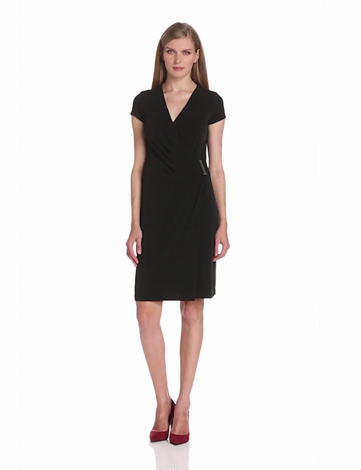 Jones New York Womens Cap Sleeve Wrap Dress, JBlack, X Small