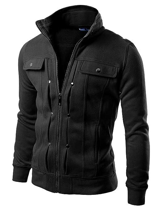 Doublju Men Active Skinny Fit Shoulder Point Zip Up Jacket BLACK,(US-XS)
