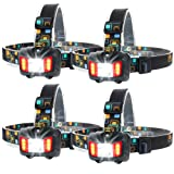 Touch Sensitive LED Headlight Kit Waterproof - Moobibear 2017 Newest Design 4 Modes Helmet Light, 200lm Super Bright Headlamp with Red Light, Heavy-Duty Lightweight Head Touch 4 PACK (Color: Headlamp 4 pack)