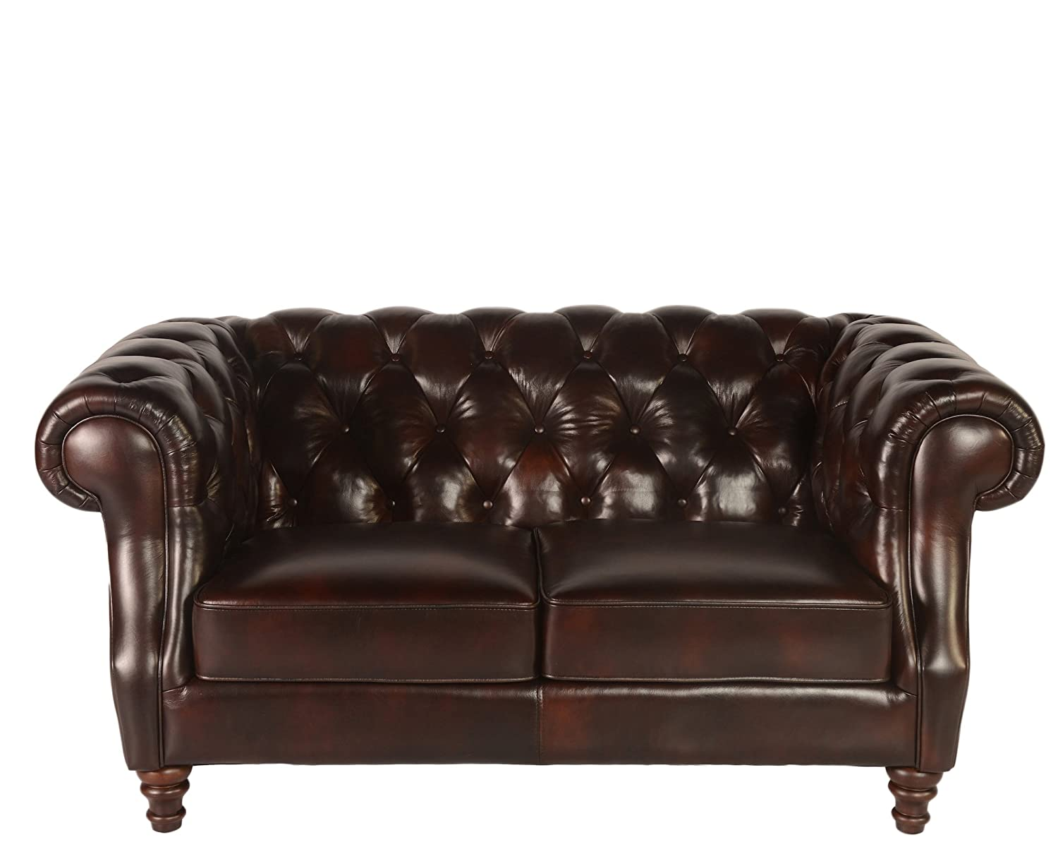 Lazzaro 1011 Chesterfield Loveseat in Brown Vintage Leather