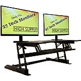 Romatlink HS1012017 Height Adjustable Sit Stand Desks Converter Standup Workstation Fits Big, Black (Color: Black)