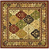 Safavieh Lyndhurst Collection LNH221B Multi and Red Square Area Rug, 8 feet by 8 feet Square (8' x 8' Square)