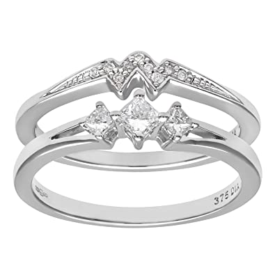 Naava 9ct White Gold 0.33ct Princess Cut Diamond Bridal Set Ring