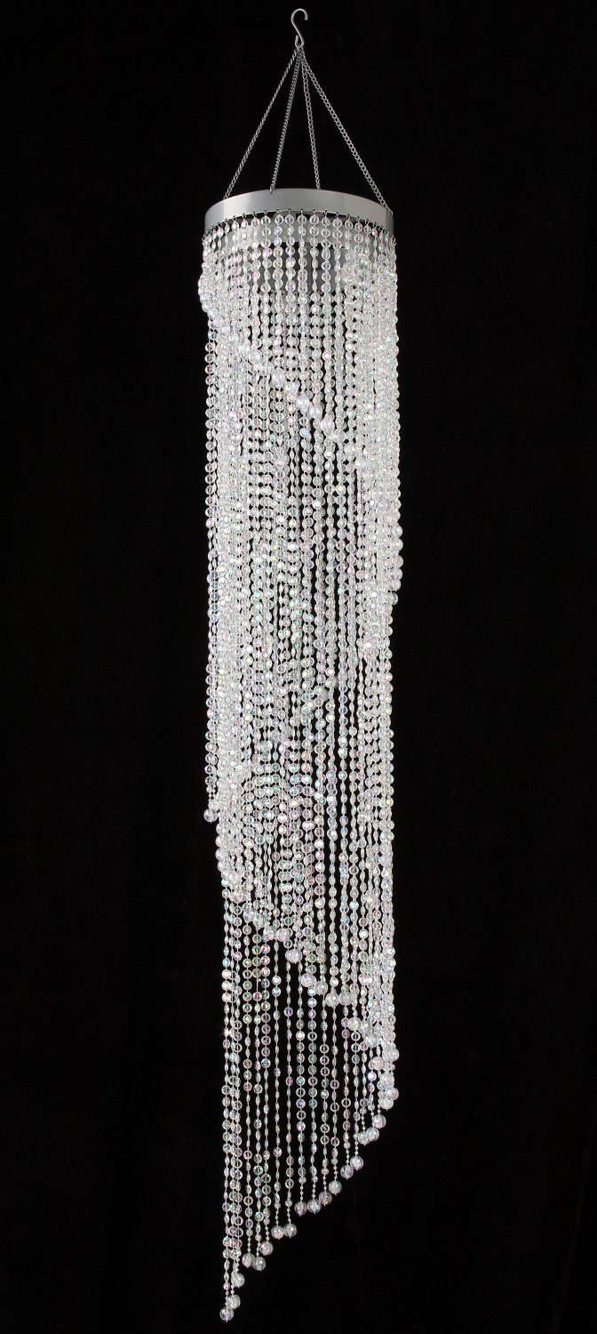 Chandelier spiral faux crystal beaded hanging light for for Plastic chandeliers for parties