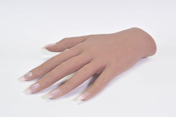 Silicone Practice Hand Realistic Hard Gel Acrylic Nail Art (Regular Left, Tan) (Color: Tan, Tamaño: Regular Left)