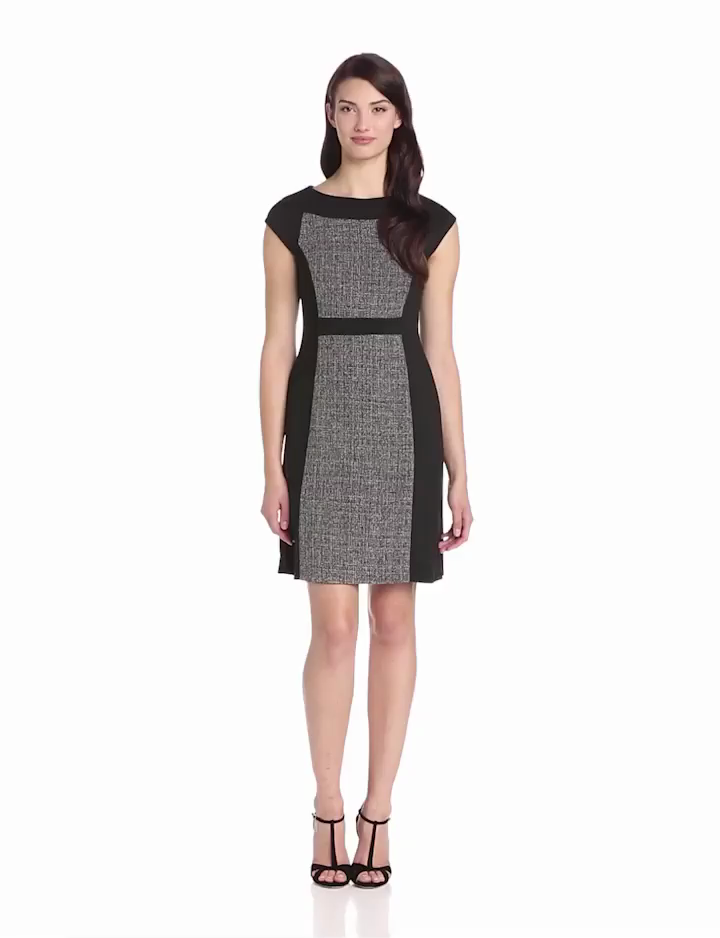 Anne Klein Womens Cap Sleeve Color Block Dress