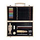 Conda 19 pcs Drawing and Sketching Art Set Colored Pencils, Art Kit for Kids, Teens and Adults/Gift Wooden Box Set for Drawing Acrylic Pastels Brushes Sketching Painting