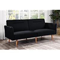 DHP Brent Linen Convertible Sofa (Black)