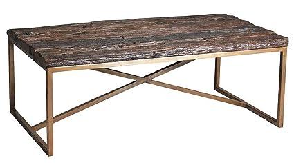 Table basse rectangulaire en acier cuivré et bois massif - Dim : 120 x 70 x 46 cm -PEGANE-