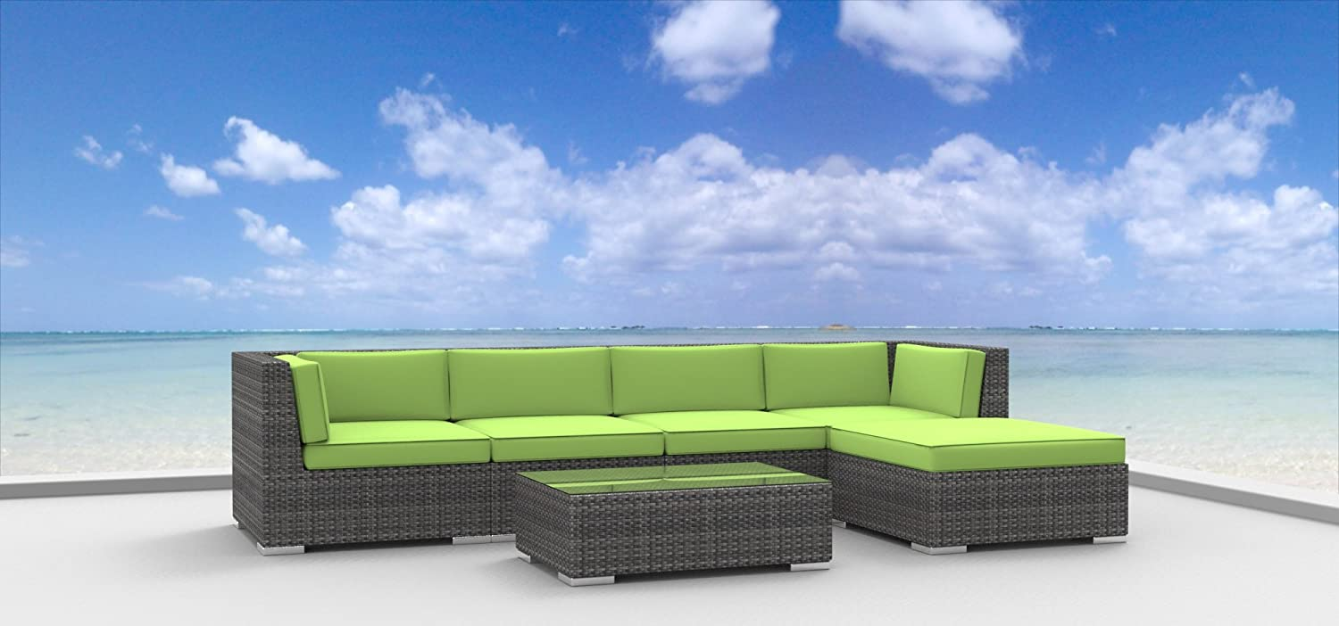 www.urbanfurnishing.net Urban Furnishing - MALO 6pc Modern Outdoor Backyard Wicker Rattan Patio Furniture Sofa Sectional Couch Set - Lime Green at Sears.com