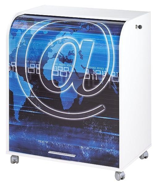 Simmob MUST095BL801 motivo: chiocciolina 801-Informatique-Tenda stampata, con ruote, in legno, colore: bianco, 53,2 x 79,2 x proprietà al 93,8 cm