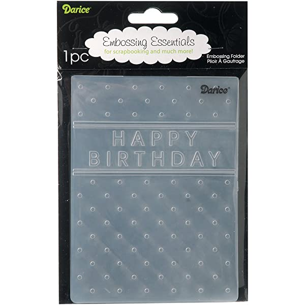 Darice Happy Birthday Embossing Folder, 4 .25-Inch by 5.75-Inch (Color: Other, Tamaño: 4 .25-Inch by 5.75-Inch)