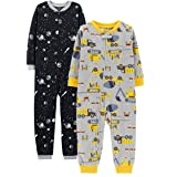 Carter's Baby Boys' 2-Pack Fleece Footless Pajamas (2T, Construction/Space) (Color: Construction/Space, Tamaño: 2T)