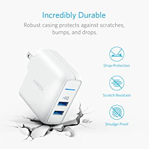 Anker Elite USB Charger, Dual Port 24W Wall Charger, PowerPort 2 with PowerIQ and Foldable Plug, for iPhone Xs/XS Max/XR/X/8/7/6/Plus, iPad Pro/Air 2/Mini 3/Mini 4, Samsung S4/S5, and More (Color: WHITE)