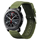 Samsung Gear S3 Classic/Frontier watch Band, Olytop 22mm Width Nylon Canvas Fabric Replacement Sport Strap Wristband for Moto 360 2nd Gen 46mm/LG G Watch W100,R W110 Smart Watch (Army Green, 22mm) (Color: Army Green, Tamaño: 22mm(Gear S3))
