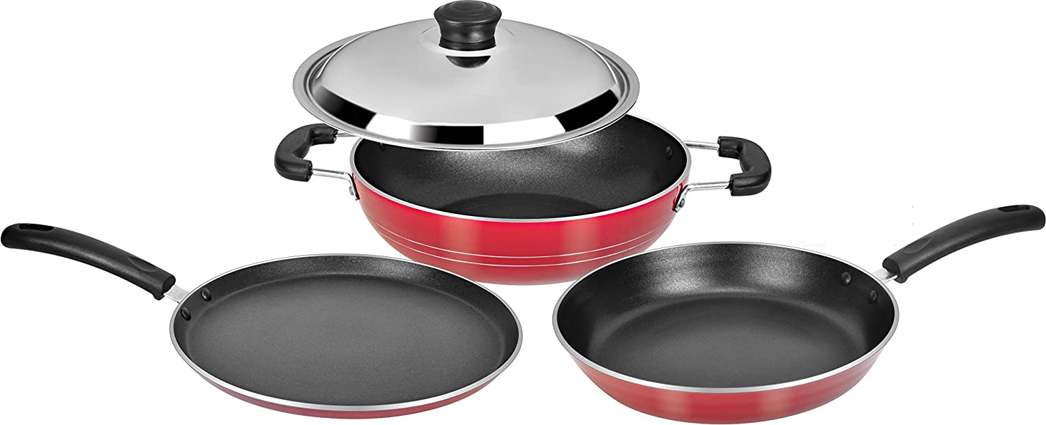 Tosaa super deluxe induction base non stick kitchen set for Kitchen set vessels