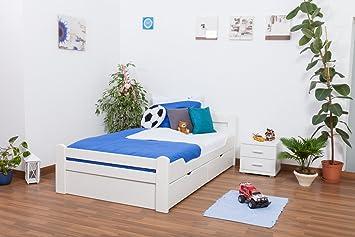 """Bett / Gästebett """"Easy Sleep"""" K4 inkl. 2 Schubladen und 1 Abdeckblende, 120 x 200 cm Buche Vollholz massiv weiß lackiert"""