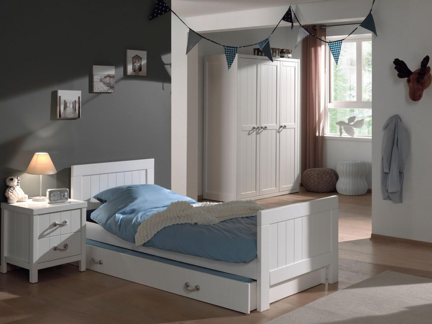 Jugendbett Set Iny 4-teilig in Weiß MDF online kaufen