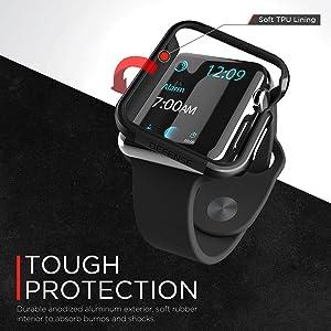 X-Doria 42mm Apple Watch Case (Defense Edge) Premium Aluminum and TPU Bumper Frame (Charcoal) - Compatible with Apple Watch Series 1, Series 2, Series 3 and Nike+ (Color: Charcoal)