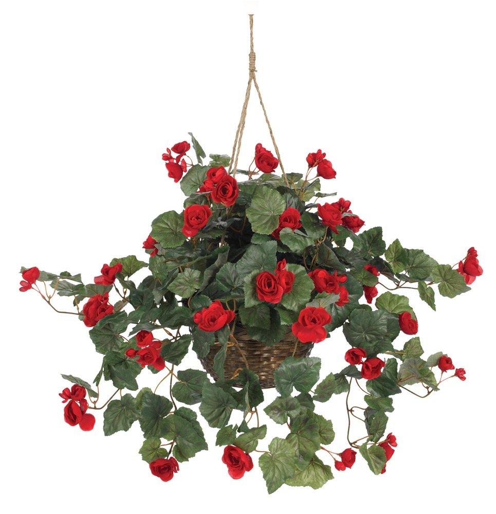 Nearly Natural 6616 Begonia Hanging Basket Red Artificial