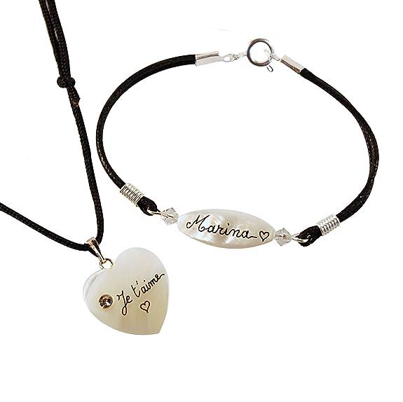 parure collier bracelet nacre personnalis e inscription quot je t. Black Bedroom Furniture Sets. Home Design Ideas