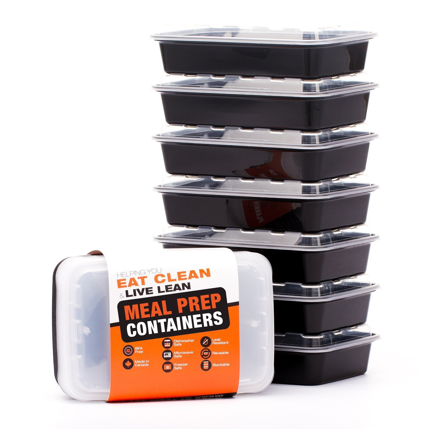 Evolutionize LIFT Certified BPA-Free Reusable Microwavable Meal-Prep Containers with Lids