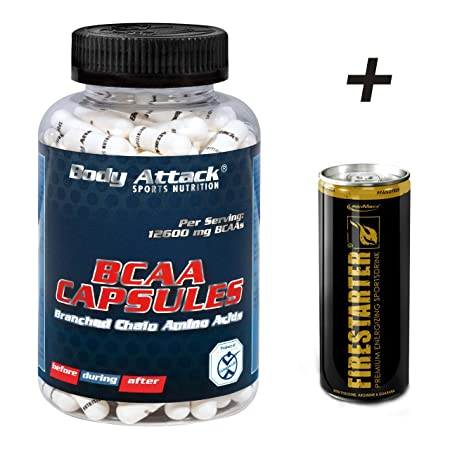Body Attack - BCAA Kapseln - 180 Stuck + Energy Drink