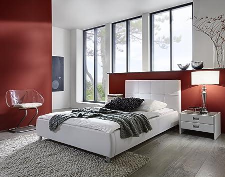 XXS® Zarah Polsterbett 90 x 200 cm in edlem weiß, Bett mit gepolstertem Kopfteil und pflegeleichter Oberfläche im abgestepptem Design, stilvolle chrom-farbene Fuße, auch als Wasserbett verwendbar