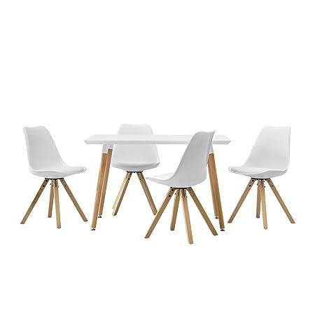 [en.casa] Esstisch mit 4 Stuhlen weiß gepolstert 120x80cm Kunstleder Esszimmer Essgruppe Kuche