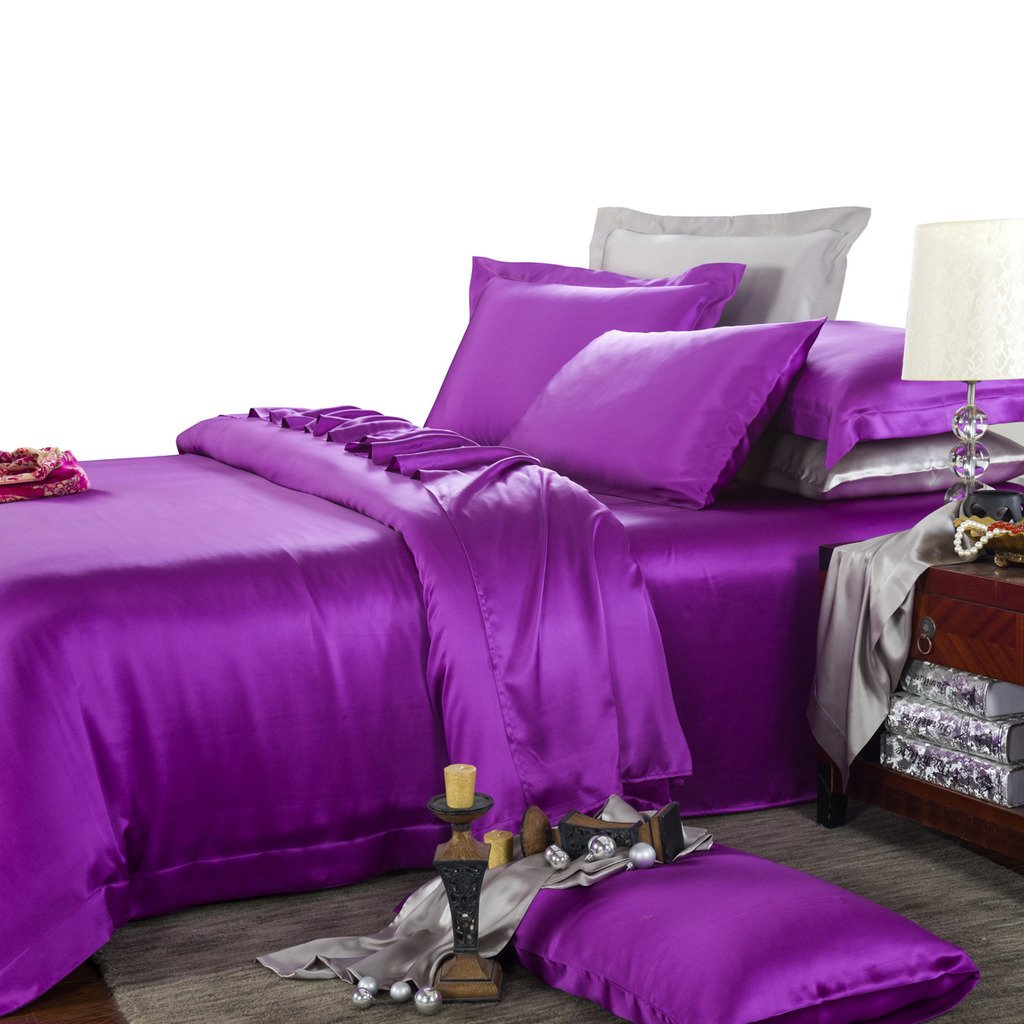 Orifashion Limited Edition 7-Piece 100% Silk Chic Purple Solid Color Bedding Set, California King Size