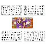 CICI&SISI 2018 Halloween Theme Nail Art Stamping Plates Kit Holiday Stamp Plate Manicure Template 4 Pieces (Tamaño: Halloween Party)