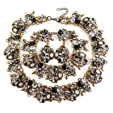 NABROJ Vintage Statement Choker Necklace Bracelet Earrings Set Costume Jewelry for Women Black and White-HLN001 Black and White 3pcs Set (Color: HLN001 Black and White 3pcs set)