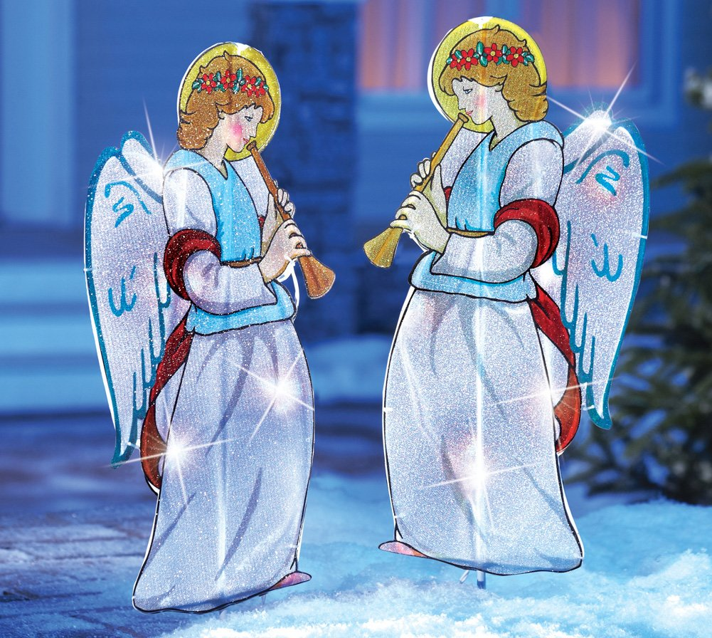 collections etc outdoor lighted christmas angels garden stakes pair of 2 pair of beautifully lighted angel stakes instantly add a colorful glow to your