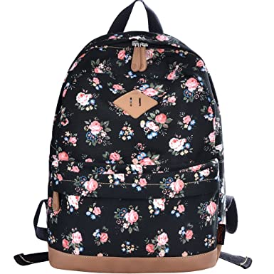DGY Womens Peony Pattern Design Korean Fashion Casual Preppy Style Backpack G00133 Black