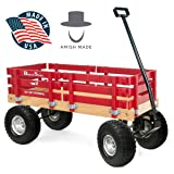 Berlin Flyer Ride Sport Wagon for Kids, All Terrain - Amish Made In the USA - Huge No-Flat Tires - No-Pinch Handle & No-Tip Steering, 300 lb Limit - F410-SS Wagon (Color: Red)