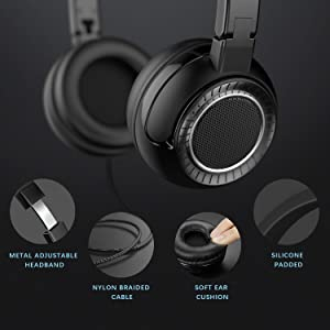 On Ear Headphones, Jelly Comb Foldable 3.5mm Wired Headphones for Cell Phone, Tablet, PC, Laptop - Black