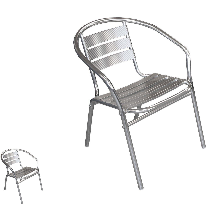 2 Stück Bistrostuhl stapelbar Aluminium Stapelstuhl Campingstuhl Gartenstuhl Küchenstuhl Balkonmöbel Gartenmöbel Silber kaufen