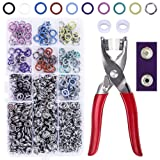 200 Sets Snap Fasteners Tool Kit, 9.5mm Metal Grommet Kit Press Studs Snap Buttons Rings with Pliers for DIY Sewing Craft Thin Clothing (10 Colors) (Tamaño: Snap Kit with Pliers)