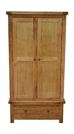 Canton Oak Double Wardrobe With Storage Drawer - 2 Door Gents Wardrobe Solid Hardwood - Bedroom Furniture