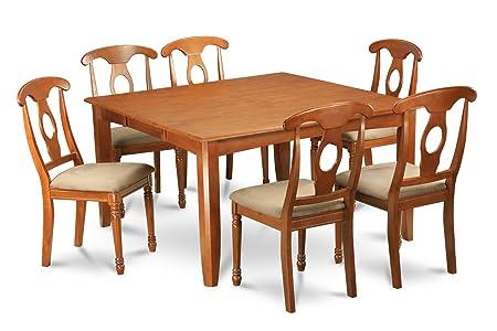 East West Furniture PFNA7-SBR-C 7-Piece Formal Dining Table Set