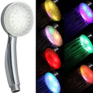 Romántico Color automático 7 LED luces da cabeza accesorio de baño ducha   Más información y revisión del cliente