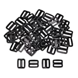Shapenty 50PCS Black Plastic Tri-glide Slides Button Bulk Adjustable Webbing Triglides Slider Buckle for Belt Backpack and Bags (Black, 0.75 Inch) (Color: Black, 0.75 Inch)