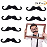 Whaline 5 Inch Large Self Adhesive Fake MustachesNovelty Black Mustache for Masquerade Costume Party (6 Pieces)