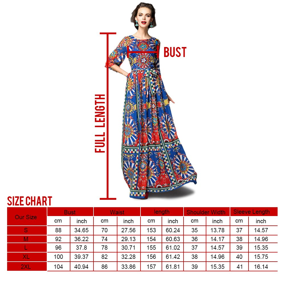 Dezzal Women's Vintage Geometric Print Cocktail Party Maxi Dress 6