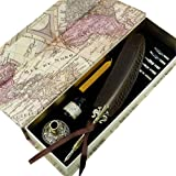 GC QUILL Feather Quill Pen Set- 100% Hand Craft - Golden Calligraphy Pen Holder Hand Carved Dip Pen Stem Best Antique Executive Gift (Color: Black)