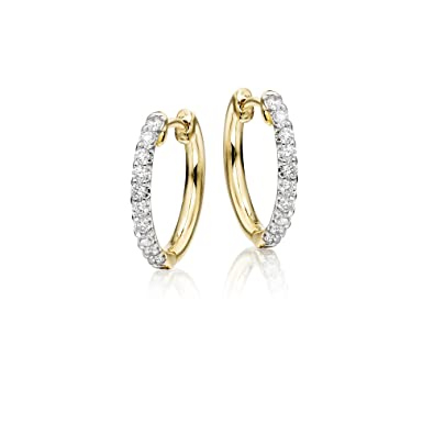 Diamond Hoop Earrings 0.20ct Elegance Diamond Hoops 18K Yellow Gold