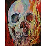 Moohue Beginner 14ct Counted Cross Stitch Kits Burning Skull Handwork Embroidery Pattern DMC Cotton Thread Aida Cloth Needles Wedding Gifts Bedroom Decor(Burning Skull) (Color: Burning Skull)
