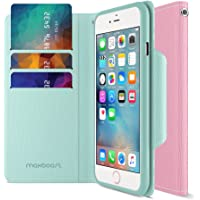 Maxboost Elegance Series PU Leather Magnetic Flip Wallet Case for iPhone 6S (Light Pink / Teal)
