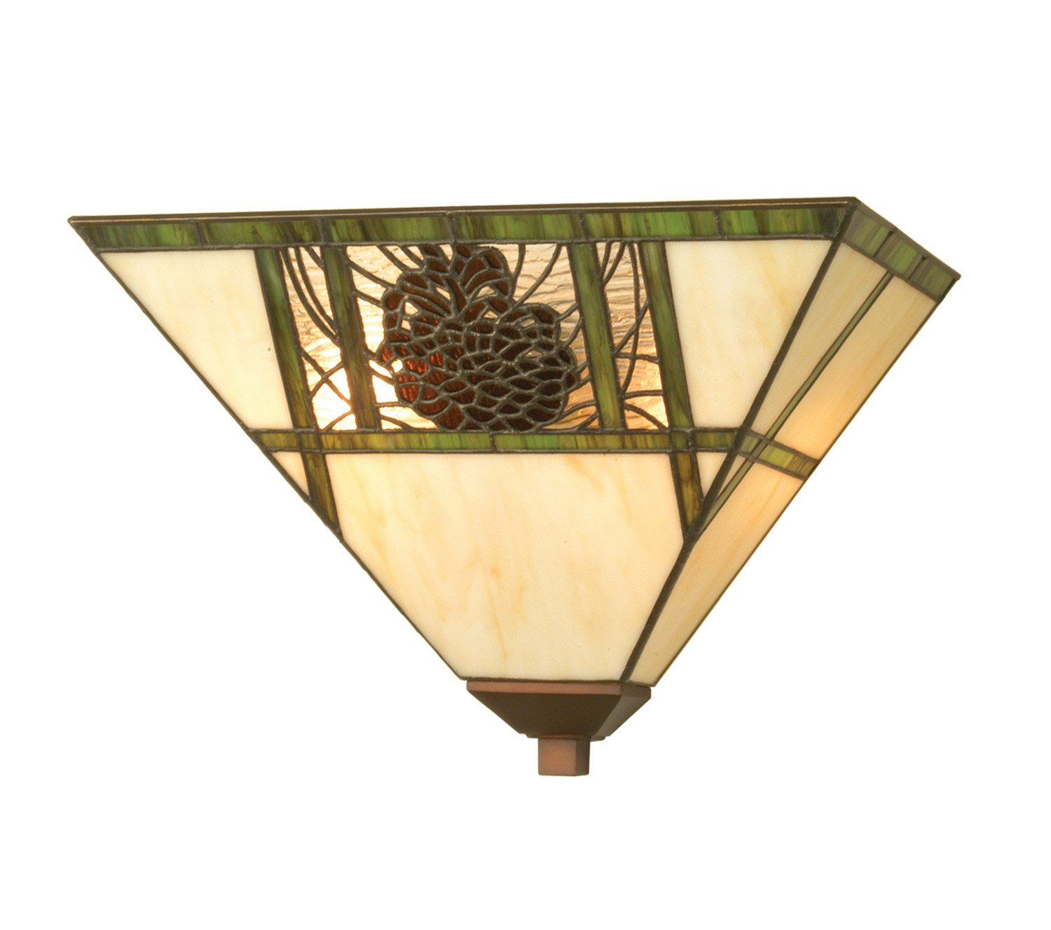Christmas pine cones wall sconces christmas wikii meyda home indoor bedroom decorative 14w pinecone ridge wall sconce bone beige stained glass is geometrically divided by moss green bands on the shade amipublicfo Image collections